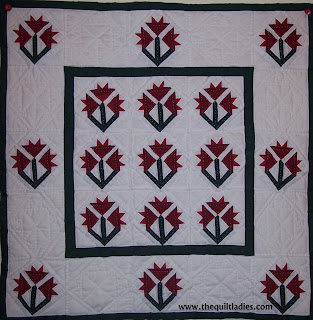 Red and White Little Flower Quilt, Hand Quilted by The Quilt Ladies