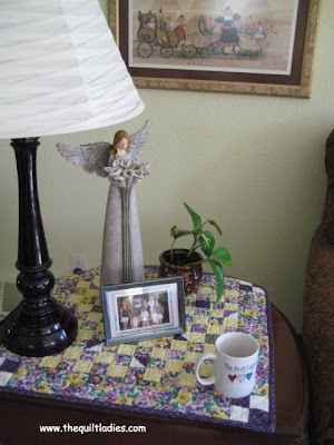 purple quilted table topper