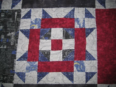 Graduation Quilt from 2000, red, white and blue fabric