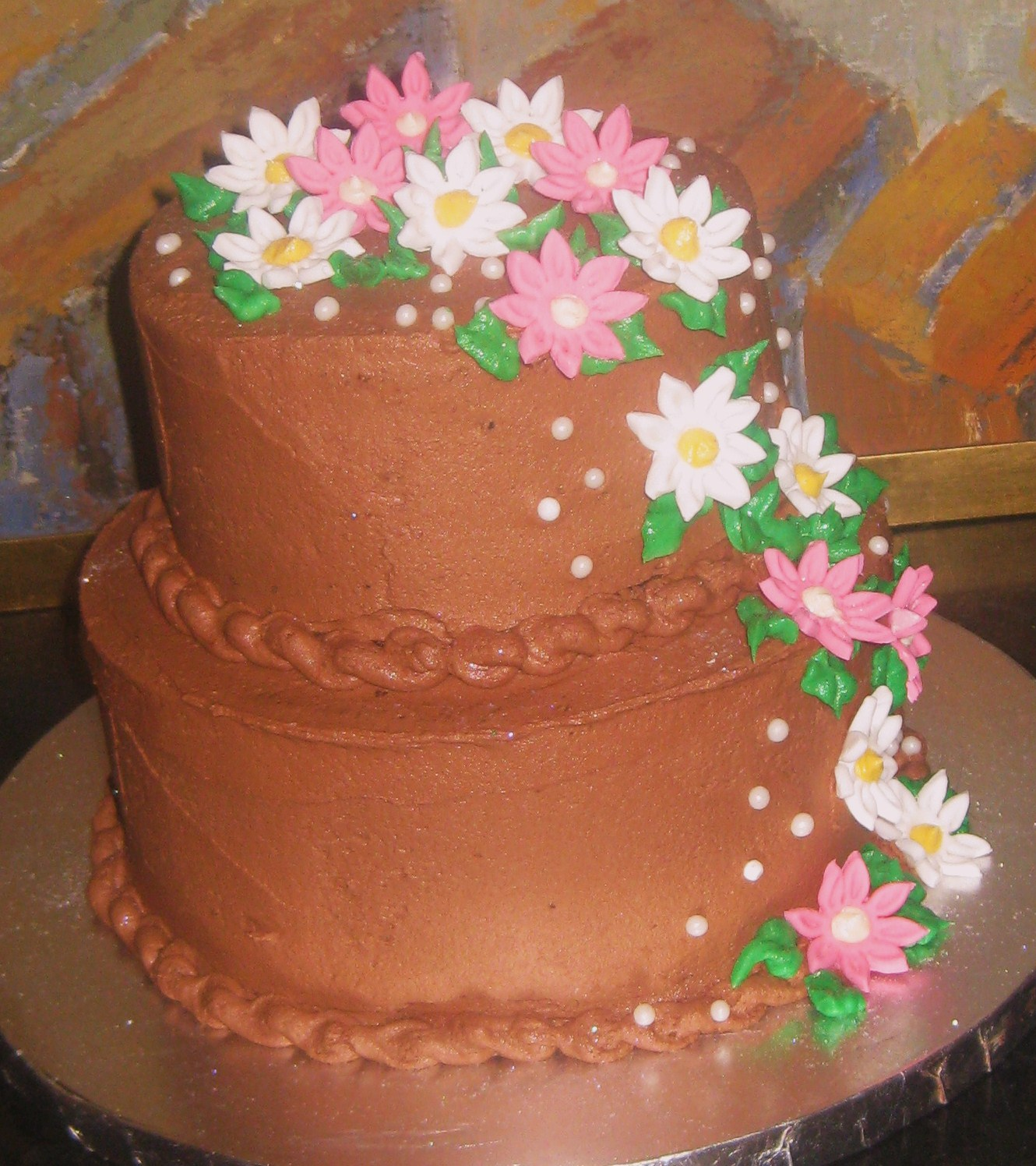 This Cake Was Custom Ordered For A Special Grandma Turning Young 80 Years Old She Loves Chocolate And Her Favorite Flower Is Daisy Colors Are