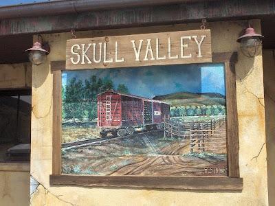 Train Mural by Prescott artist J.D. Davis Skull Valley Arizona