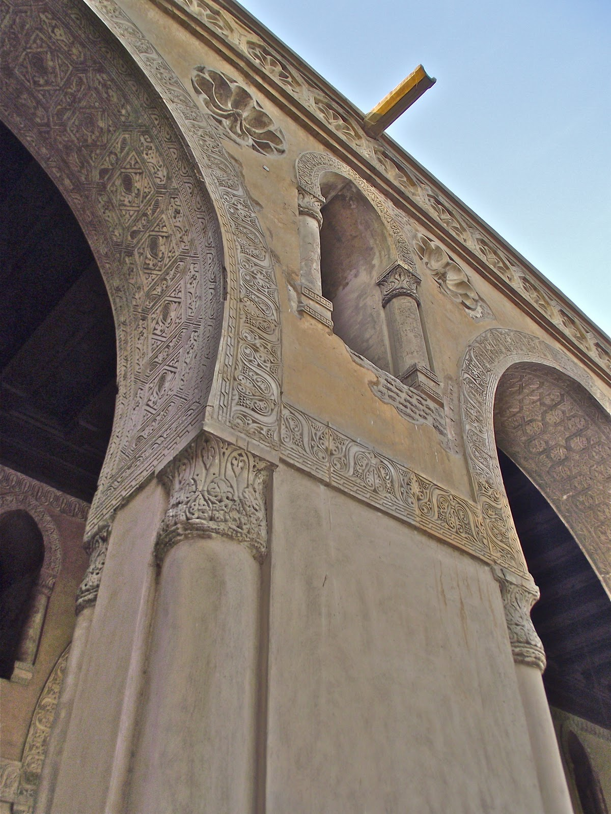 Hand-carved pillars in the Ibn Tulun Mosque.