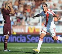 lamela festeja su segundo gol en primera Lanus 1 vs River Plate 4