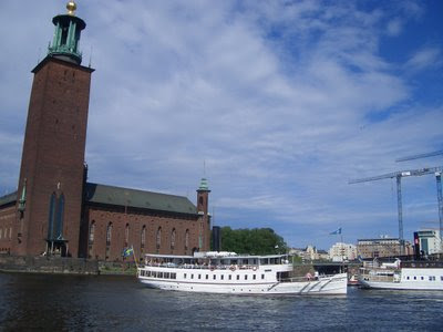 Steamboats outside Stockholm City Hall