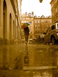 A rainy street in Stockholm.