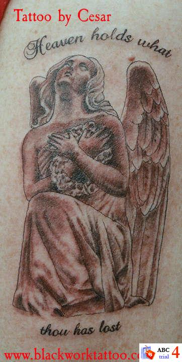 Angel Tattoo Design. Tattoo of an angel and clouds. Angel Tattoo Design