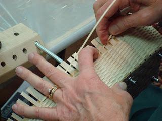 Basket maker in JoAnn Kelly Catsos' Black ash basketry cracker basket class