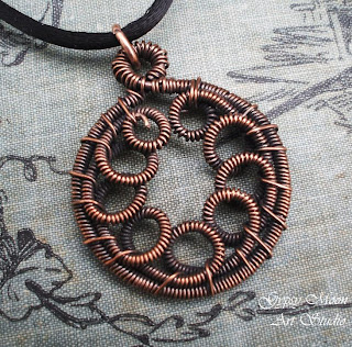 copper artisan wire wrap scroll pendant
