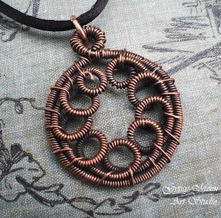 copper artisan wire wrap scroll pendant