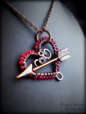 wire wrapped copper Valentine heart necklace