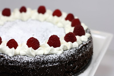 ... Flourless Dark Chocolate Cake with White Chocolate Mousse and