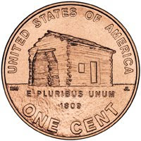 Lincoln Bicentennial Penny: Log Cabin