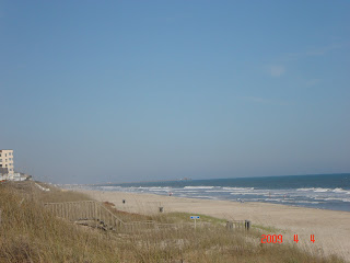 Can you find the fishing pier in this beach picture?
