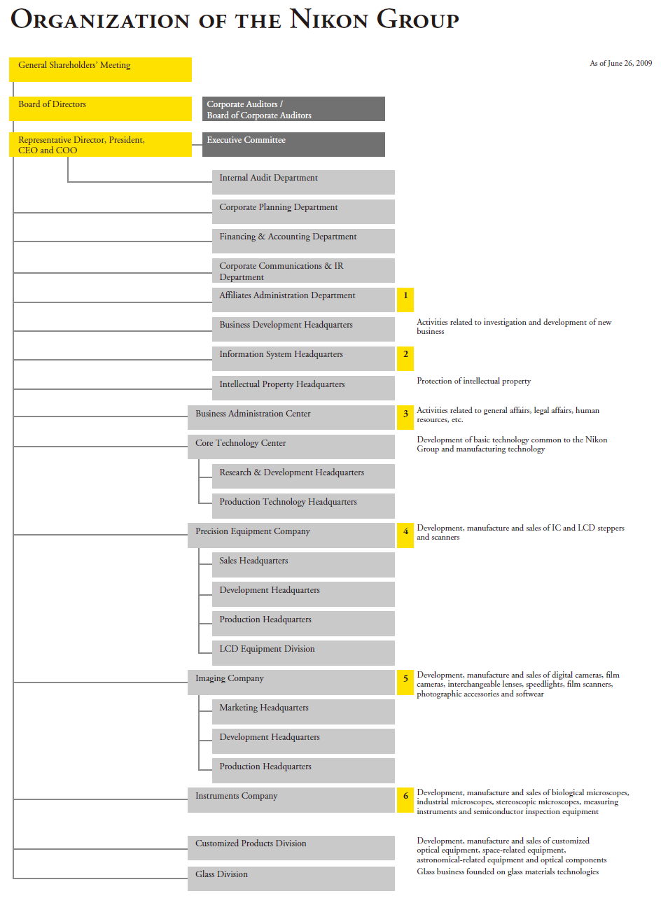 Visible Business Organizational Structure Of Nikon Group