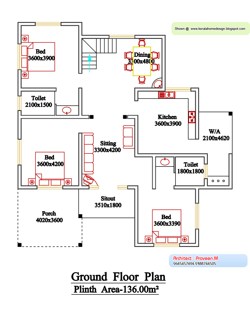 Kerala style floor plan and elevation 6 kerala home for Single floor 4 bedroom house plans kerala