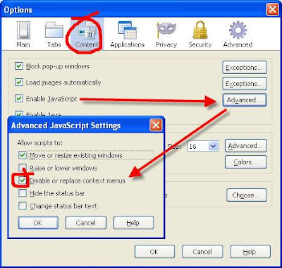 Firefox 3.5 right click menu diabled. Solution