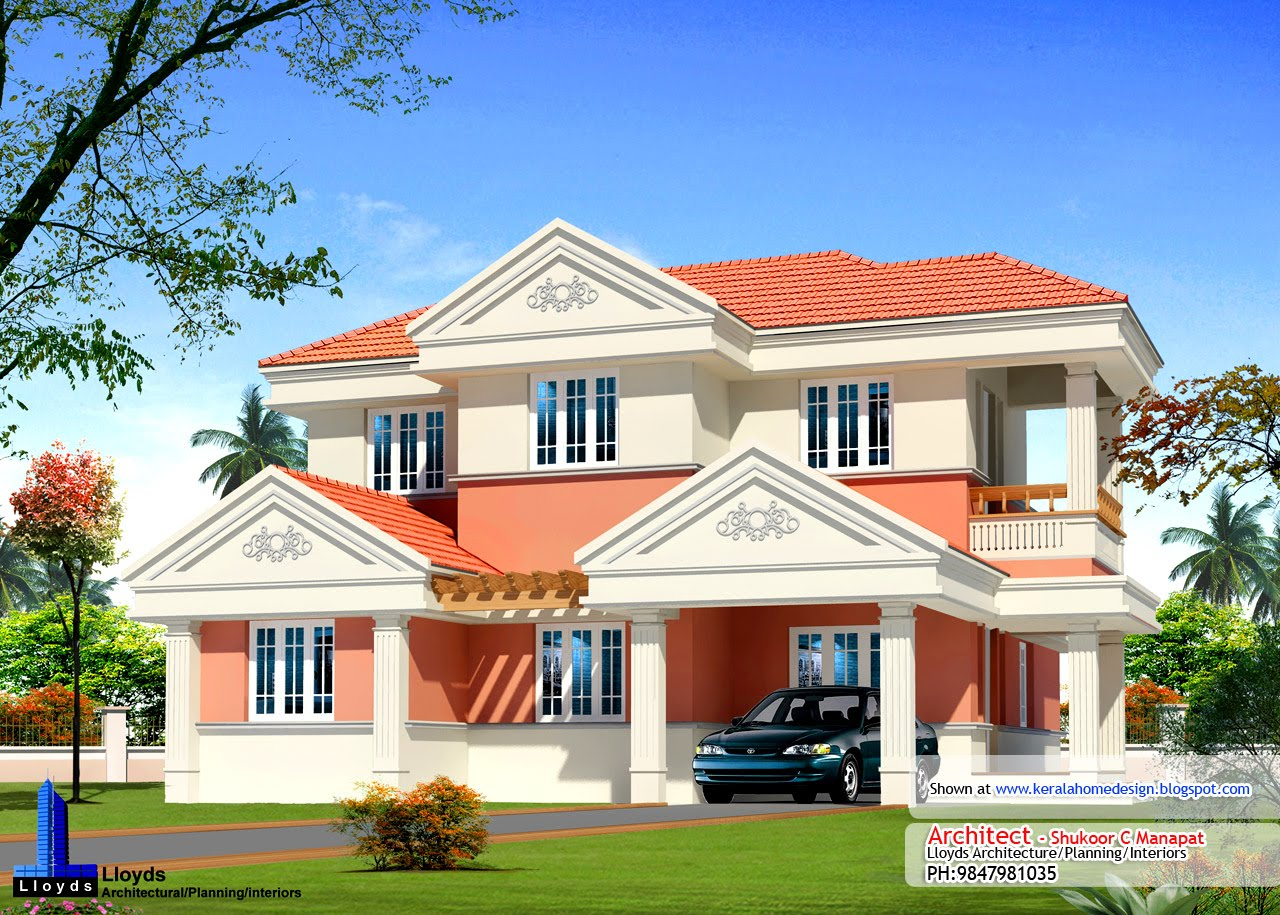 Kerala home plan elevation and floor plan 2254 sq ft kerala home design and floor plans - Kerala exterior model homes ...