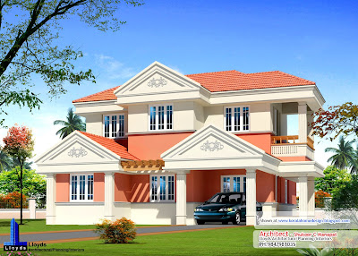 home plan elevation and floor plan - 2254 Sq FT - Kerala home design