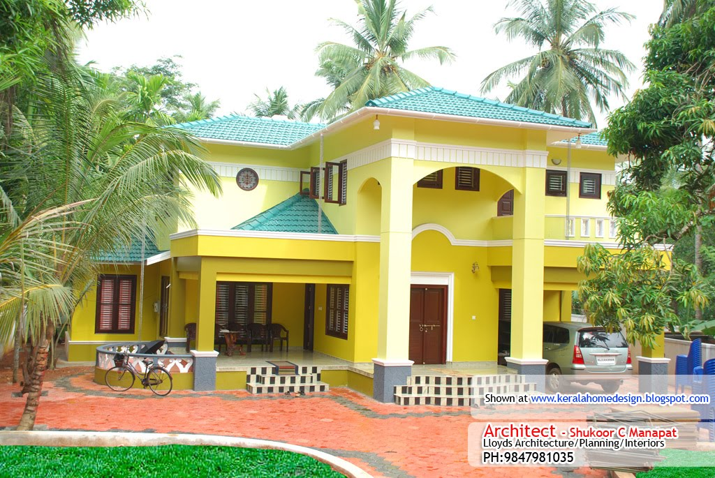 Kerala home plan elevation and floor plan 3236 sq ft for Elevation of kerala homes
