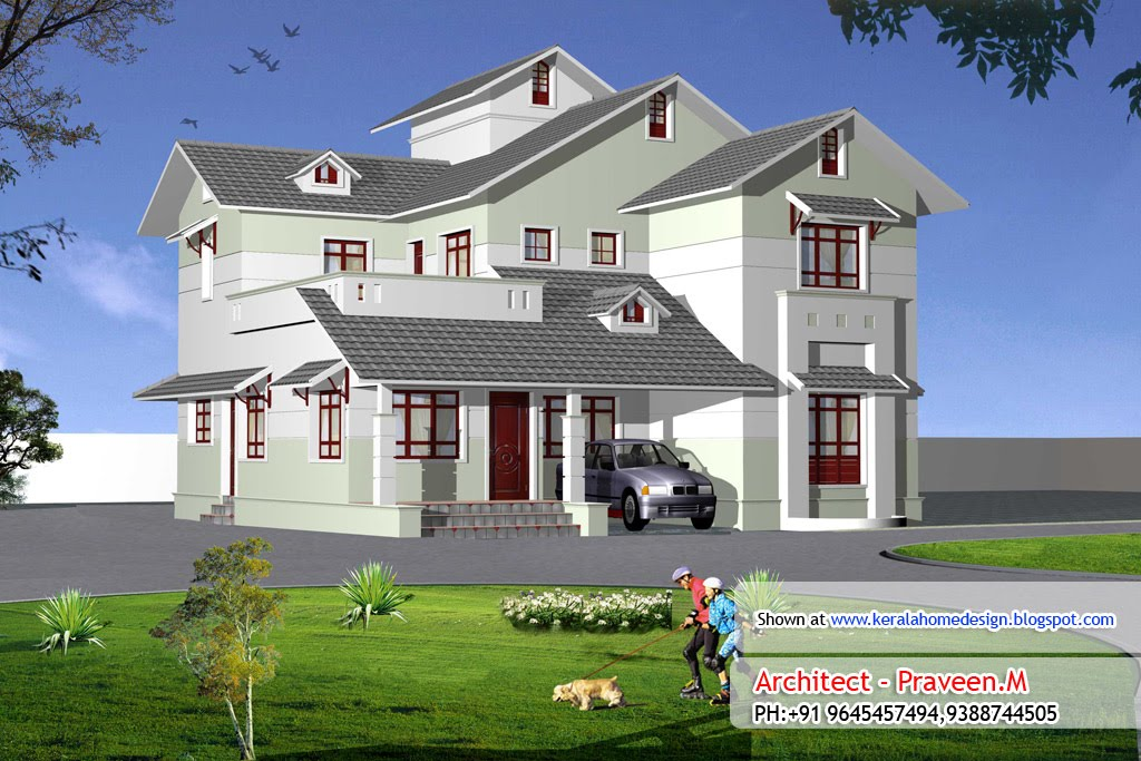Kerala Home plan and elevation - 2410 Sq. Ft.