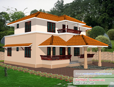 Kerala Home plan and elevation - 1936 Sq. Ft.