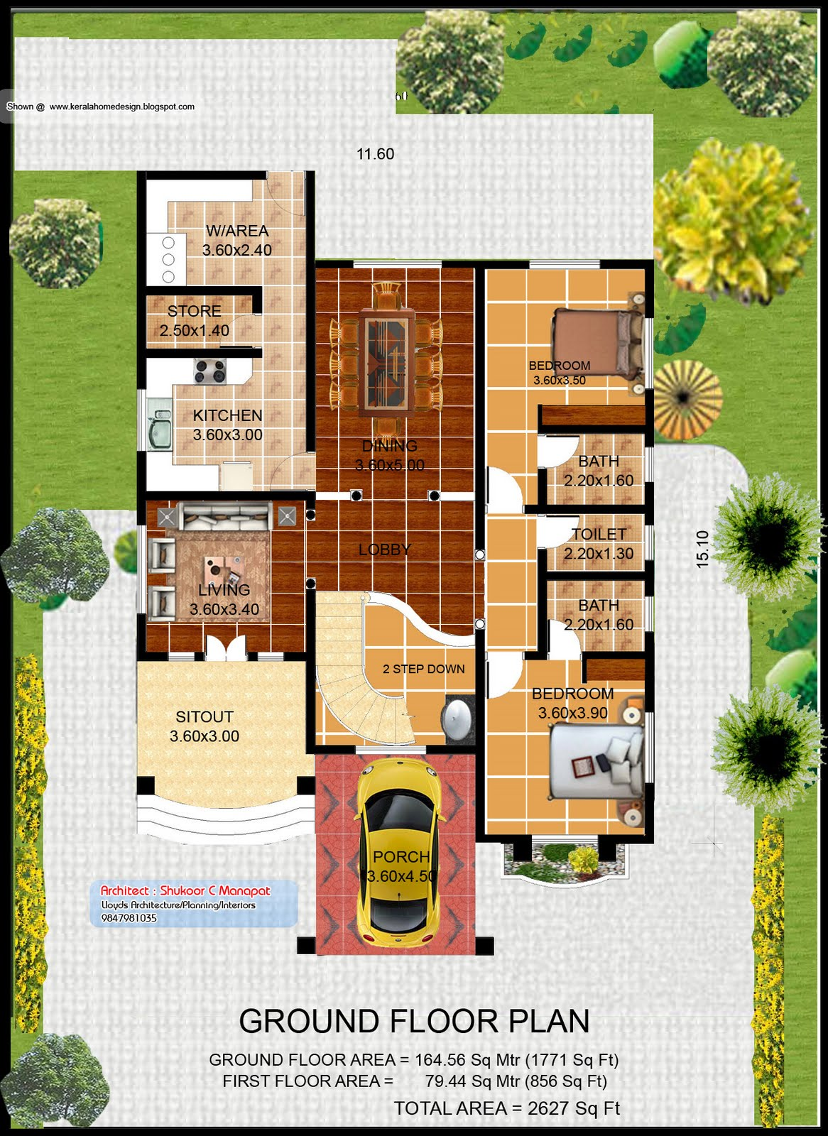 Kerala villa plan and elevation - 2627 Sq. Feet