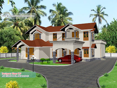 Kerala Home plan and elevation - 2850 Sq ft - Different Colour 2