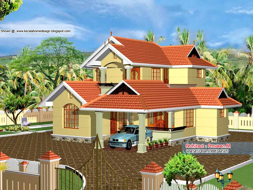 Kerala home plan and elevation 2109 sq ft kerala home for Beautiful houses pictures in kerala