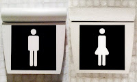 the man is a rectangle with legs, the woman is a rectangle with legs and a bulge around her hips to indicate a skirt