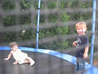 happy baby on a trampoline