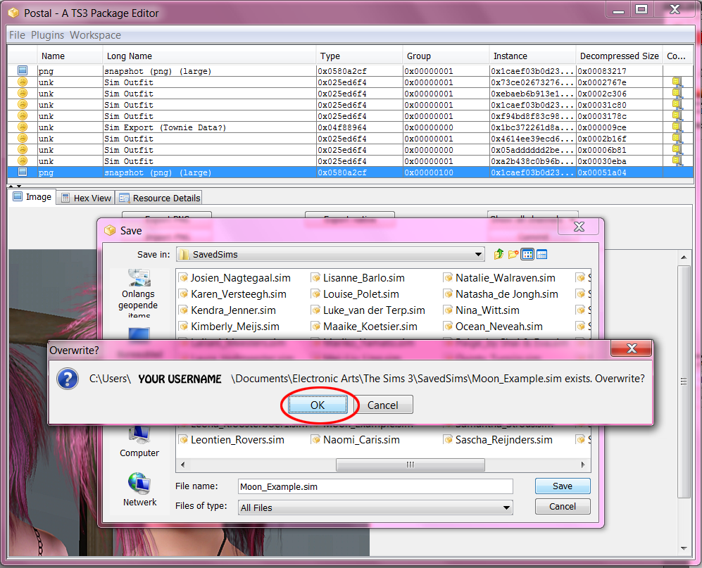 How to change pictures in CAS / Sim Bin - Tutorial 14+Overwrite+Sim+File
