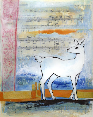 white deer French music mixed media painting