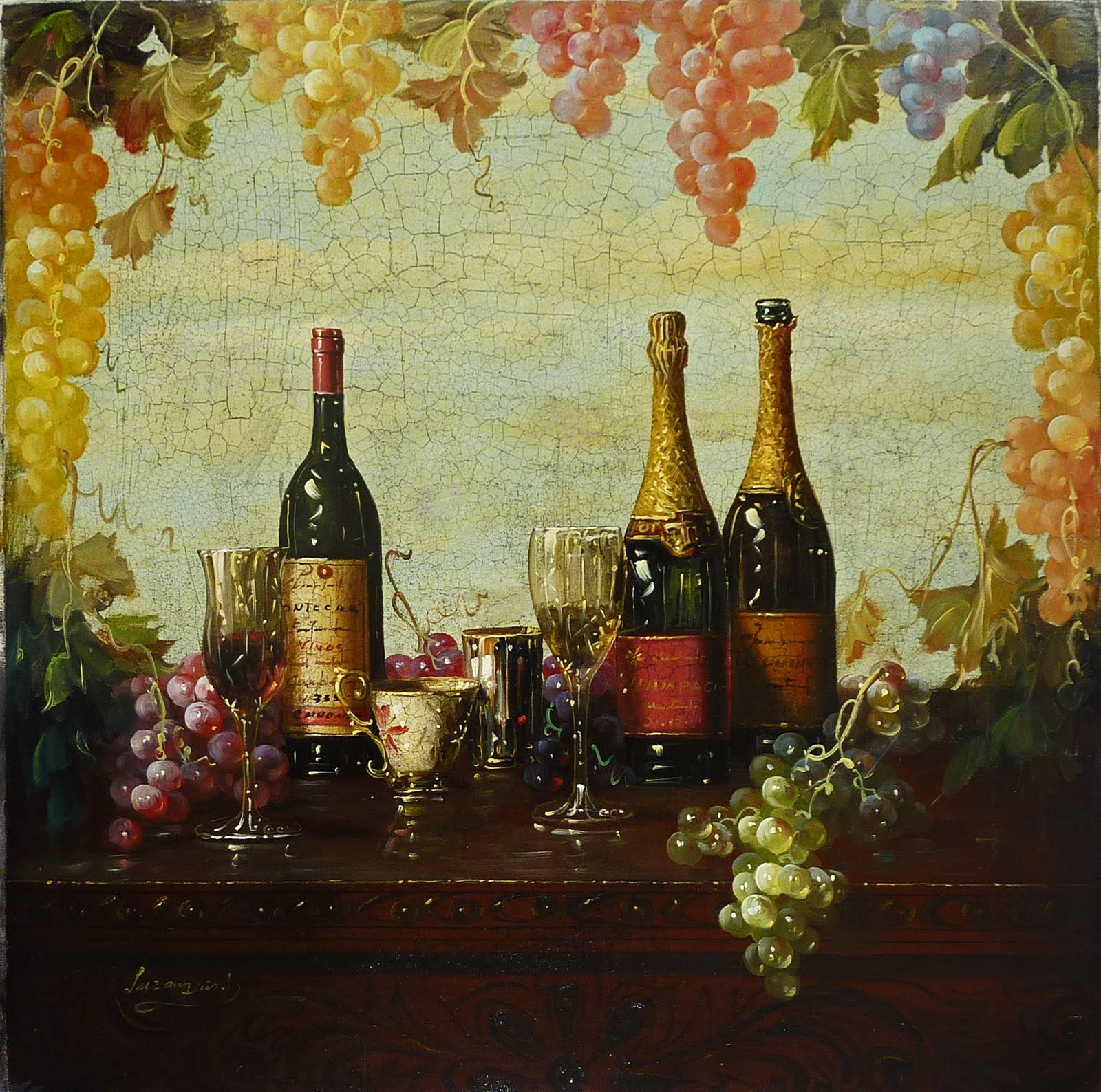 Artfinders luxeart luzanquis 39 wine paintings for Painting and wine