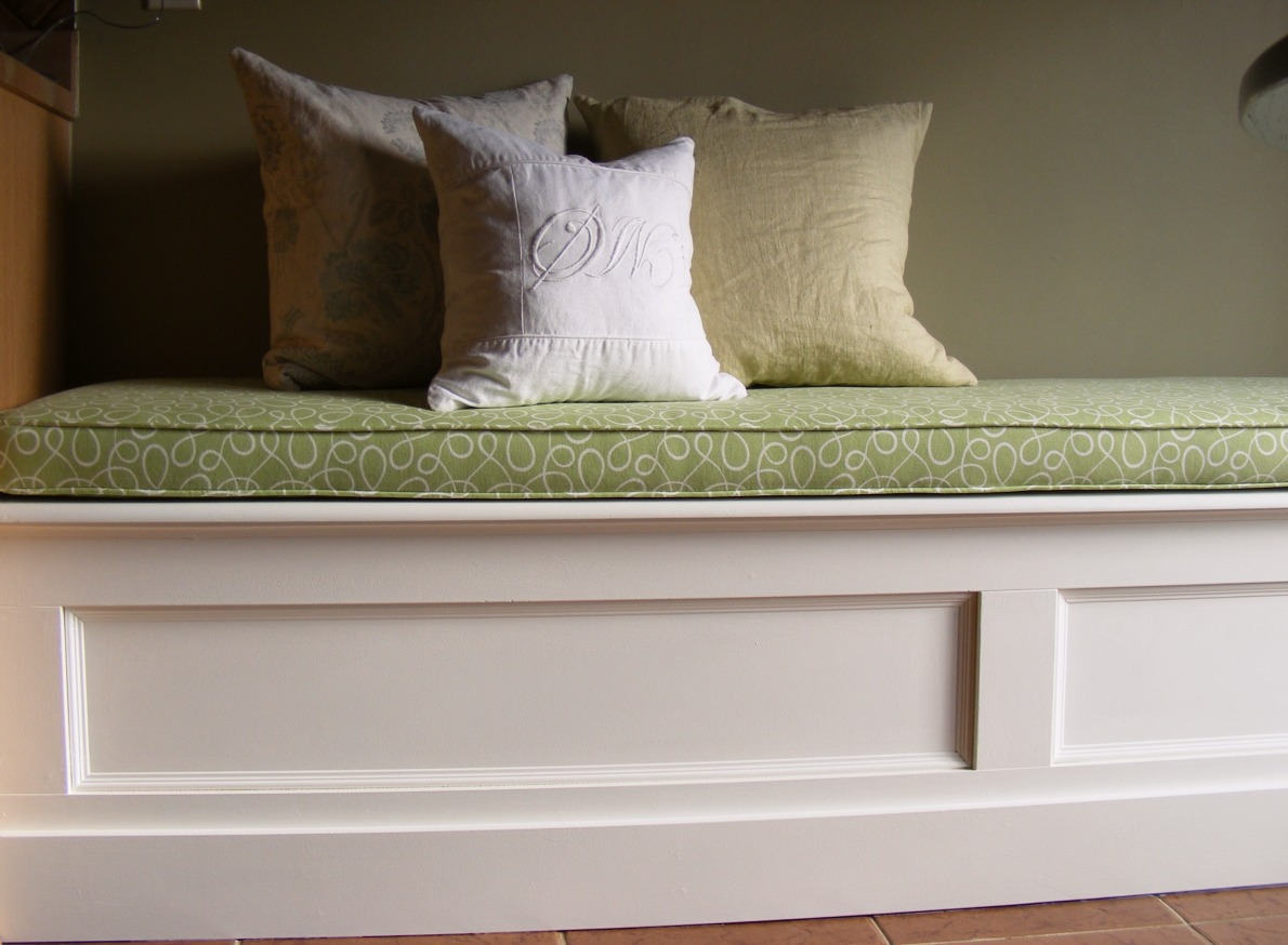 White Wood Custom Kitchen Banquette: kitchen bench seating