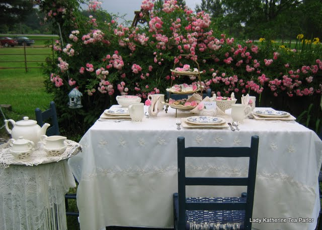 TOUCHES OF BLUE ROSES IN A PINK GARDEN TEA | Lady Katherine Tea Parlor