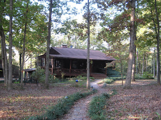 photo of the front of the house after the trees were trimmed up - brick walkway leading down to a log house