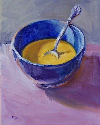 Bowl of Soup & Sterling Silver Spoon:8 x 10 small oil painting, food kitchen daily art still life Marie Fox