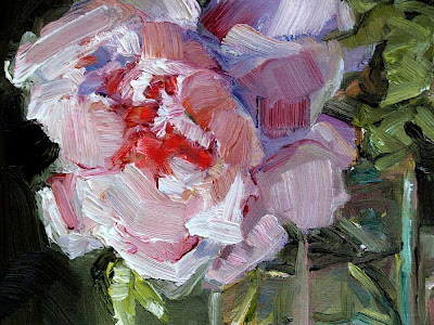 Glass Vase of Pink Roses & Flower Clippers, still life oil painting 11 x 14, rose cutters