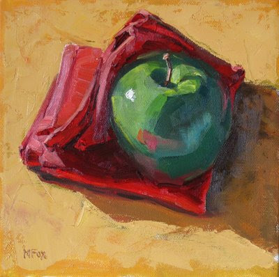 Green Apple & Red Napkin: Small square daily oil painting of fruit, green and red