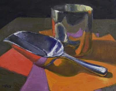 Marie Fox oil painting of kitchen silver flour scoop as daily painting