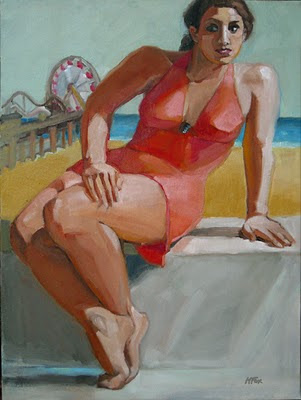 Santa Monica Pier Oil Painting Figurative Marie Fox