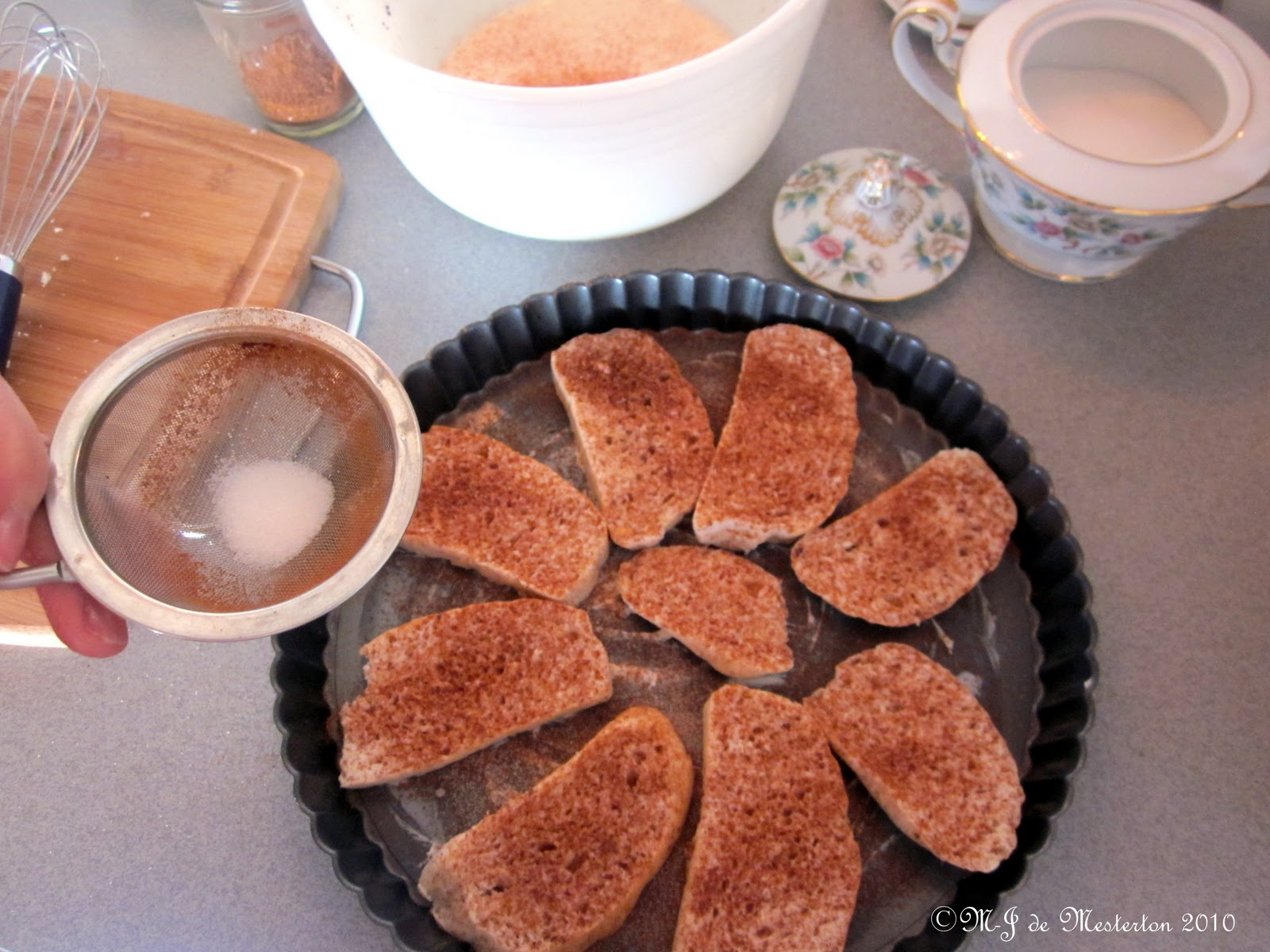 The method and ingredients for making baked cinnamon toast are simple,