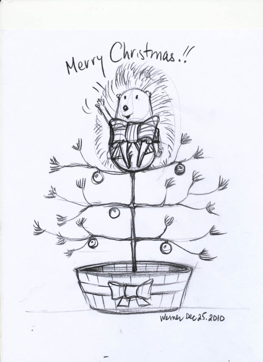 day 1 of 12 days of drawing the porcupine
