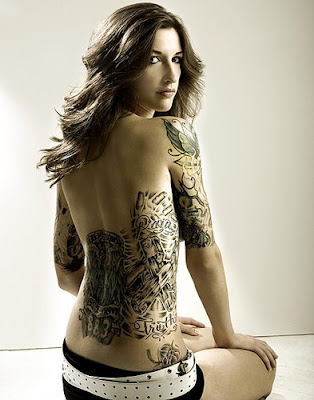 Best Tattoo Design on Full Back Body Girl Sexy