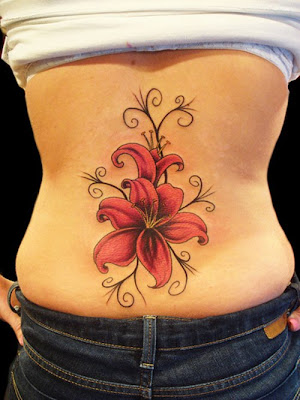 red flower tattoos design