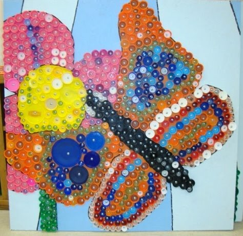 Thomas elementary art 4th grade bottle cap mural for Bottle cap mural