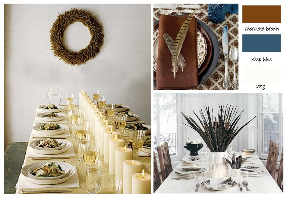 Festive patterned table cloths paired with deep blues add a bit more texture