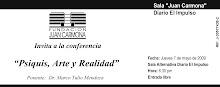 """Fundación Juan Carmona - INVITA a la Conferencia """"Psiquis, Arte y Realidad"""""""