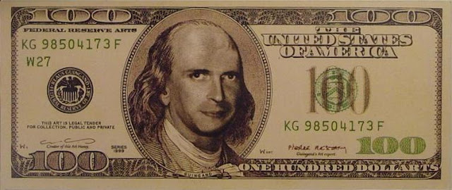 "Klaus Guingand artwork - "" $ 100 dollarts bill "" serial 1999 Digital prints on paper: 6,14 x 2,59 inches Serial number. Signed by Klaus Guingand and Pierre Restany. Dollart TM © Klaus Guingand"