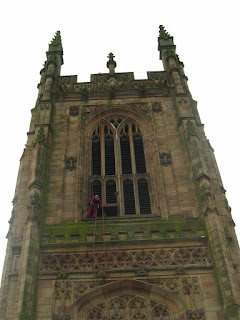 View of Derby Cathedral tower from the nave roof. Click to enlarge